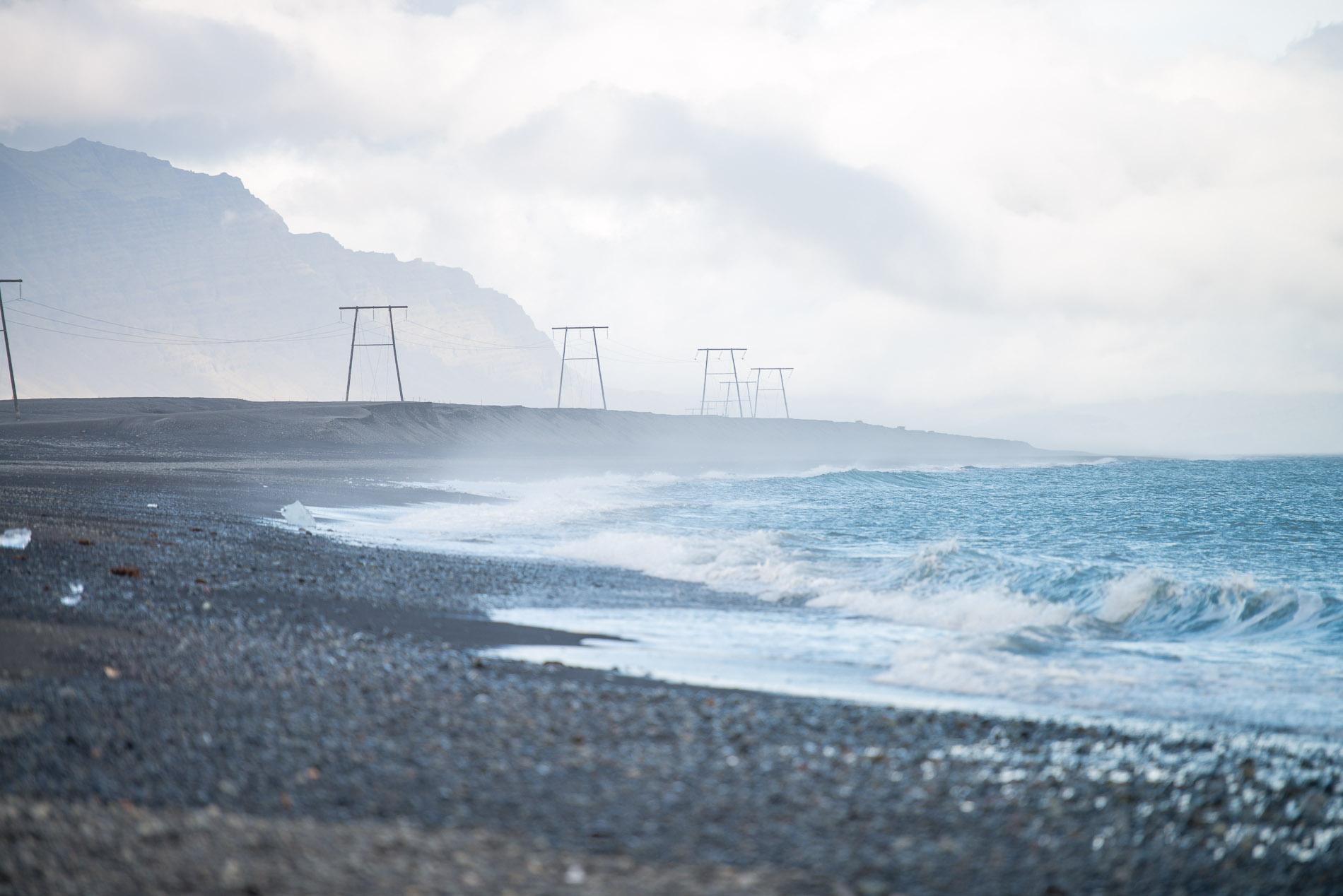 Island, stranden vid Jökulsárlón